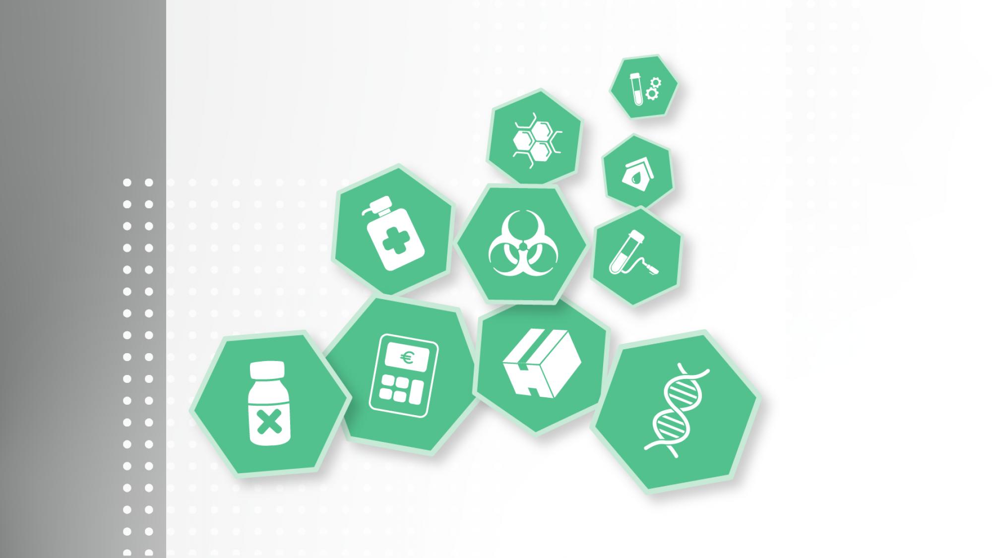 Icons der Medat Module, z.B. Mikrobiologie, Humangenetik, Blutdepot, Toxikologie, etc.