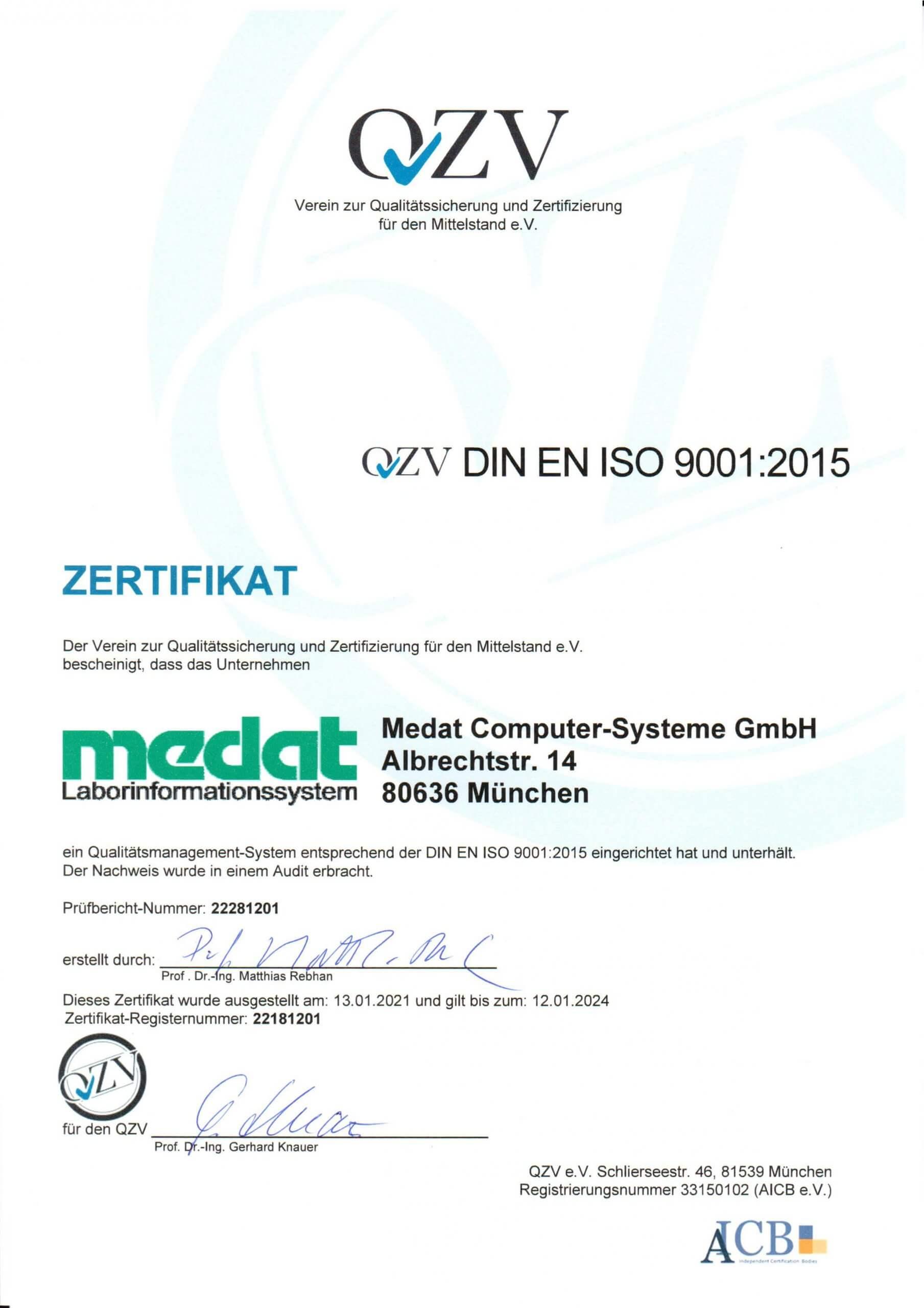 Medat Laborinformationssystem Zertifikat der DIN EN ISO 9001:2015 auf deutsch
